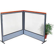 "Deluxe Freestanding 2-Panel Corner Room Divider with Full Window, 60-1/4""W x 61-1/2""H Panels, Blue"