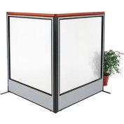 "Deluxe Freestanding 2-Panel Corner Room Divider with Full Window, 60-1/4""W x 73-1/2""H Panels, Gray"