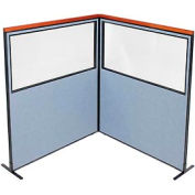 """Deluxe Freestanding 2-Panel Corner Divider with Partial Window, 60-1/4""""W x 73-1/2""""H Panels, Blue"""