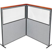 "Deluxe Freestanding 2-Panel Corner Divider with Partial Window, 60-1/4""W x 73-1/2""H Panels, Gray"