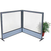 "Freestanding 2-Panel Corner Room Divider with Full Window, 60-1/4""W x 60""H Panels, Blue"
