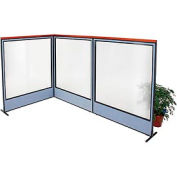 "Deluxe Freestanding 3-Panel Corner Room Divider with Full Window, 60-1/4""W x 73-1/2""H Panels, Blue"