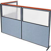 """Deluxe Freestanding 3-Panel Corner Divider with Partial Window, 60-1/4""""W x 73-1/2""""H Panels, Blue"""