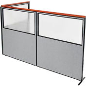 "Deluxe Freestanding 3-Panel Corner Divider with Partial Window, 60-1/4""W x 73-1/2""H Panels, Gray"