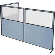 "Freestanding 3-Panel Corner Room Divider with Partial Window, 60-1/4""W x 72""H Panels, Blue"