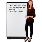 "Office Partition Panel with Whiteboard and Raceway, 36-1/4""W x 64""H"