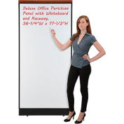 "Deluxe Office Partition Panel with Whiteboard and Raceway, 36-1/4""W x 77-1/2""H"