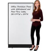 "Office Partition Panel with Whiteboard and Pass-Thru Cable, 36-1/4""W x 64""H"