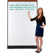 """Deluxe Office Partition Panel with Whiteboard and Pass-Thru Cable, 48-1/4""""W x 77-1/2""""H"""