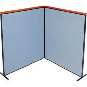 "Deluxe Freestanding 2-Panel Corner Room Divider, 60-1/4""W x 73-1/2""H, Blue"