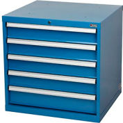 "Paramount™ Modular Drawer Cabinet, 5 Drawers, w/Lock, w/o Dividers, 30""Wx27""Dx29-1/2""H Blue"