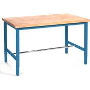 "96""W x 30""D Production Workbench - Birch Butcher Block Square Edge - Blue"