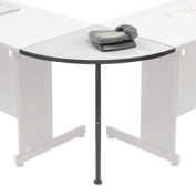 "Rounded Corner Tabletop with Support Post, 24"" Radius, Gray"