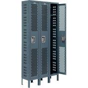 Infinity™ Heavy Duty Ventilated Steel Locker, Single Tier, 3-Wide, 12x12x72, Assembled, Gray