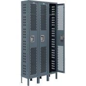 Infinity® Heavy Duty Ventilated Steel Locker, Single Tier, 3-Wide, 12x18x72, Assembled, Gray