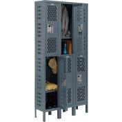 Infinity™ Heavy Duty Ventilated Steel Locker, Double Tier, 3-Wide, 12x15x36, Assembled, Gray