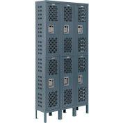 Infinity™ Heavy Duty Ventilated Steel Locker, Double Tier, 3-Wide, 12x15x36, Assembled, Gray