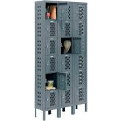 Infinity™ Heavy Duty Ventilated Steel Locker, Six Tier, 3-Wide, 12x12x12, Assembled, Gray