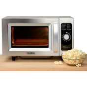 Global Commercial Microwave Oven, 0.9 Cu. Ft., 1000 Watts, Dial Control, Stainless Steel Cabinet