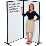 """Freestanding 2-Panel Corner Room Divider with Whiteboard, 36-1/4""""W x 72""""H"""