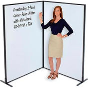 """Freestanding 2-Panel Corner Room Divider with Whiteboard, 48-1/4""""W x 72""""H"""