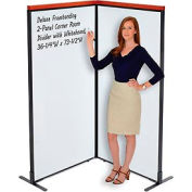 """Deluxe Freestanding 2-Panel Corner Room Divider with Whiteboard, 36-1/4""""W x 73-1/2""""H"""