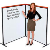 "Deluxe Freestanding 2-Panel Corner Room Divider with Whiteboard, 48-1/4""W x 61-1/2""H"