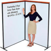 "Deluxe Freestanding 2-Panel Corner Room Divider with Whiteboard, 48-1/4""W x 73-1/2""H"