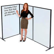 "Freestanding 3-Panel Corner Room Divider with Whiteboard, 36-1/4""W x 60""H"