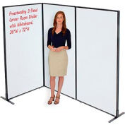 """Freestanding 3-Panel Corner Room Divider with Whiteboard, 36-1/4""""W x 72""""H"""