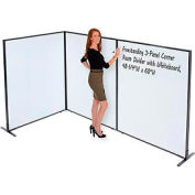 """Freestanding 3-Panel Corner Room Divider with Whiteboard, 48-1/4""""W x 60""""H"""