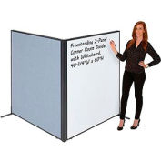 "Freestanding 2-Panel Corner Room Divider with Whiteboard, 48-1/4""W x 60""H, Blue"