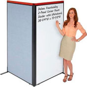 "Deluxe Freestanding 2-Panel Corner Room Divider with Whiteboard, 36-1/4""W x 73-1/2""H, Blue"