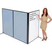 """Freestanding 3-Panel Corner Room Divider with Whiteboard, 36-1/4""""W x 60""""H, Blue"""