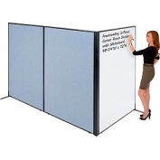 """Freestanding 3-Panel Corner Room Divider with Whiteboard, 48-1/4""""W x 72""""H, Blue"""