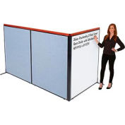 "Deluxe Freestanding 3-Panel Corner Room Divider with Whiteboard, 48-1/4""W x 61-1/2""H, Blue"