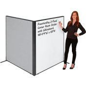 "Freestanding 2-Panel Corner Room Divider with Whiteboard, 48-1/4""W x 60""H, Gray"