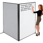 "Freestanding 2-Panel Corner Room Divider with Whiteboard, 48-1/4""W x 72""H, Gray"