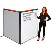 "Deluxe Freestanding 2-Panel Corner Room Divider with Whiteboard, 48-1/4""W x 61-1/2""H, Gray"