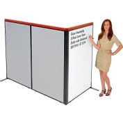 "Deluxe Freestanding 3-Panel Corner Room Divider with Whiteboard, 36-1/4""W x 61-1/2""H, Gray"