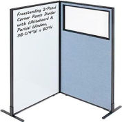 """Interion® 2-Panel Corner Room Divider with Whiteboard & Partial Window, 36-1/4""""W x 60""""H, Blue"""