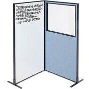 """Interion® 2-Panel Corner Room Divider with Whiteboard & Partial Window, 36-1/4""""W x 72""""H, Blue"""