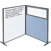 "Freestanding 2-Panel Corner Room Divider with Whiteboard & Partial Window, 48-1/4""W x 60""H, Blue"