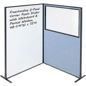 "Freestanding 2-Panel Corner Room Divider with Whiteboard & Partial Window, 48-1/4""W x 72""H, Blue"