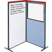 Interion® Deluxe Freestanding 2-Panel Corner w/Whiteboard & Partial Window 36-1/4Wx73-1/2H Blue