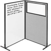 """Freestanding 2-Panel Corner Room Divider with Whiteboard & Partial Window, 36-1/4""""W x 60""""H, Gray"""