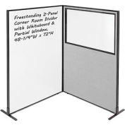 "Freestanding 2-Panel Corner Room Divider with Whiteboard & Partial Window, 48-1/4""W x 72""H, Gray"