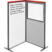 Deluxe Freestanding 2-Panel Corner Room Divider w/ Whiteboard & Partial Window 36-1/4W x73-1/2H Gray