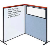 Deluxe Freestanding 2-Panel Corner Room Divider w/ Whiteboard & Partial Window 48-1/4W x61-1/2H Blue