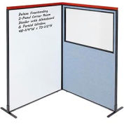 Interion® Deluxe Freestanding 2-Panel Corner w/Whiteboard & Partial Window 48-1/4Wx73-1/2H Blue